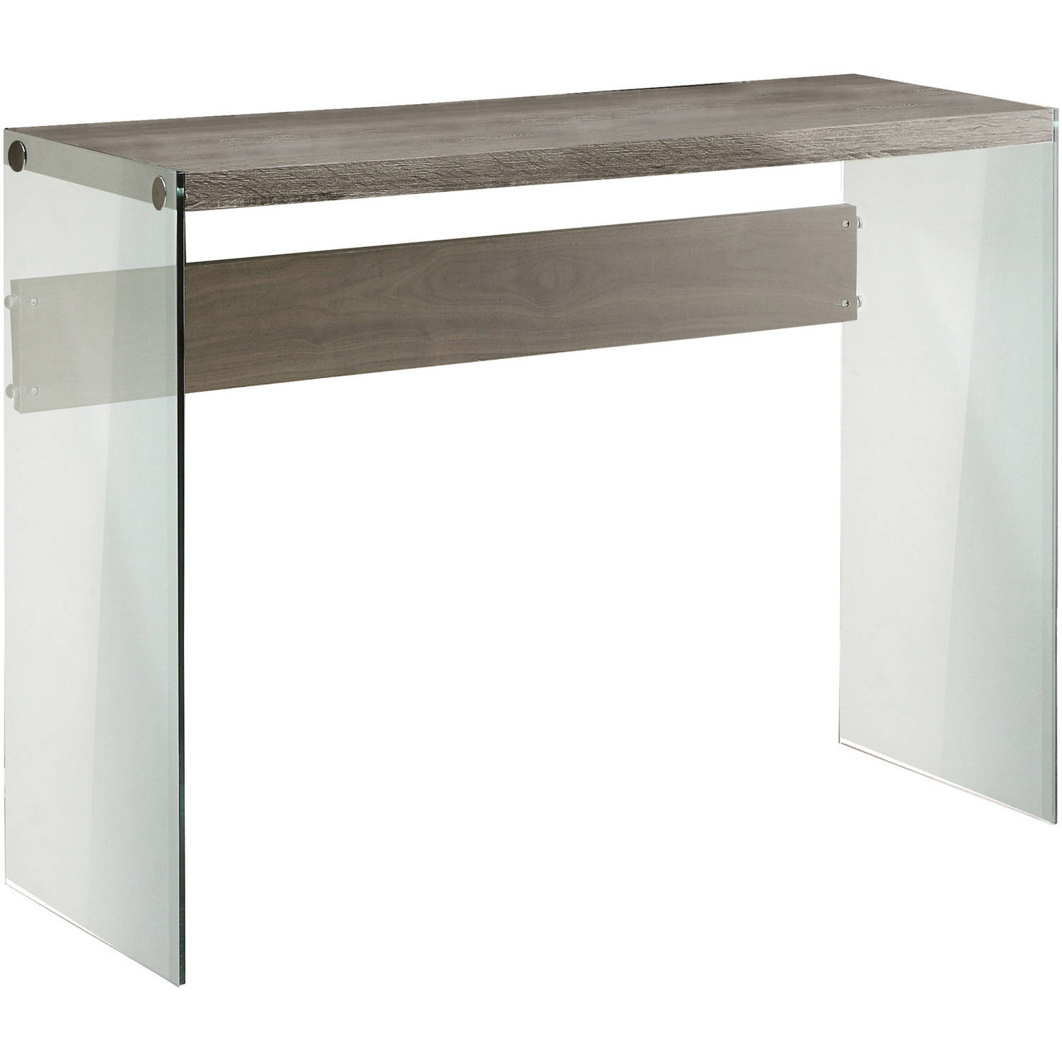 Monarch Console Table Dark Taupe With Tempered Glass Walmart