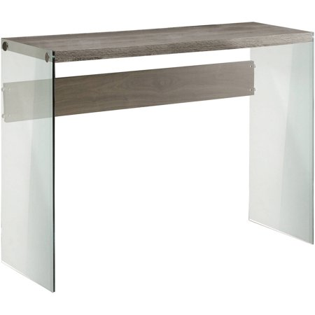 Curved End Console - Monarch Console Table Dark Taupe With Tempered Glass