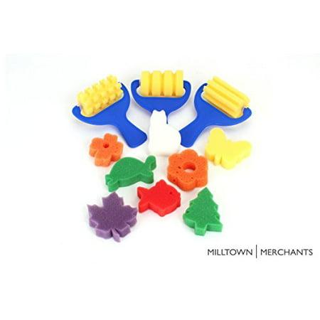 Sponge Painting Variety Pack - (3) Textured Sponge Painting Rollers - (8) Sponge Painting Shapes - Crafts for Kids - Art Sponge Assortment - Face Painting Sponges