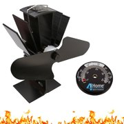 Eco Friendly Silent Heat Powered Stove Fan For Wood Log Burners + Free Stove Thermometer