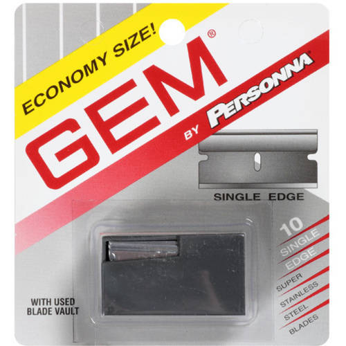 Gem by Personna Single Edge Super Stainless Steel Razor Blades, 10 count