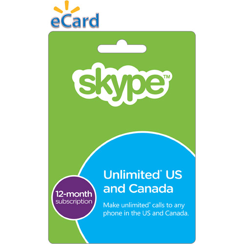 SKYPE $30.48 Prepaid 12 Month Unlimited US & CA Subscription eGift Card (Email Delivery)