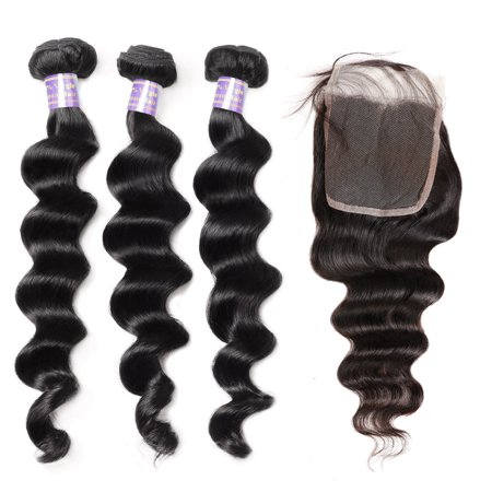 Allove 9A Brazilian Hair Weave 3 Bundles Deep Loose Human Hair Bundles with Closure, 16