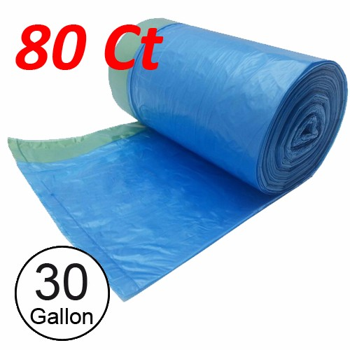 Wideskall® 30 Gallong Can Bottle Recycling Drawstring Trash Bag Blue - Pack of 80