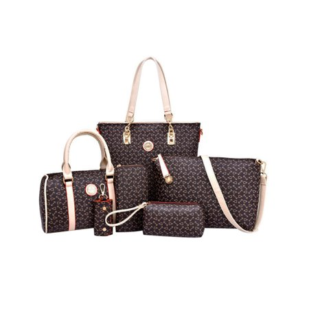 Coofit 6 Pieces Handbags Set Womens Totes Cross-Body Bag Pouch Purse Wallets for Ladies Girls ()