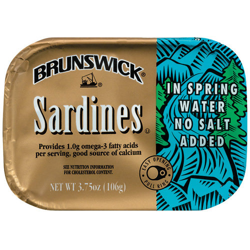 Brunswick Sardine Fillets in Spring Water, No Salt Added, 3.75oz can by Bumble Bee Foods