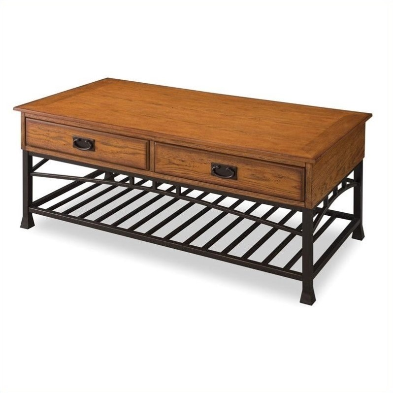 Home Styles Modern Craftsman Coffee Table in Distressed Oak