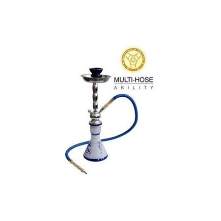 "VAPOR HOOKAHS LEGEND 17"" MODERN COMPLETE HOOKAH SET: Single Hose shisha pipe with 4 Hose Multi Hose ability and auto seal system. Legend narguile pipes have a glass vase (Blue"