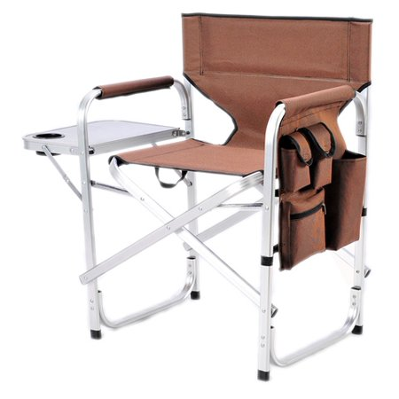 Stylish Camping Outdoor Folding Director's Chair w/ Full Back - BRN - Cheap Directors Chairs
