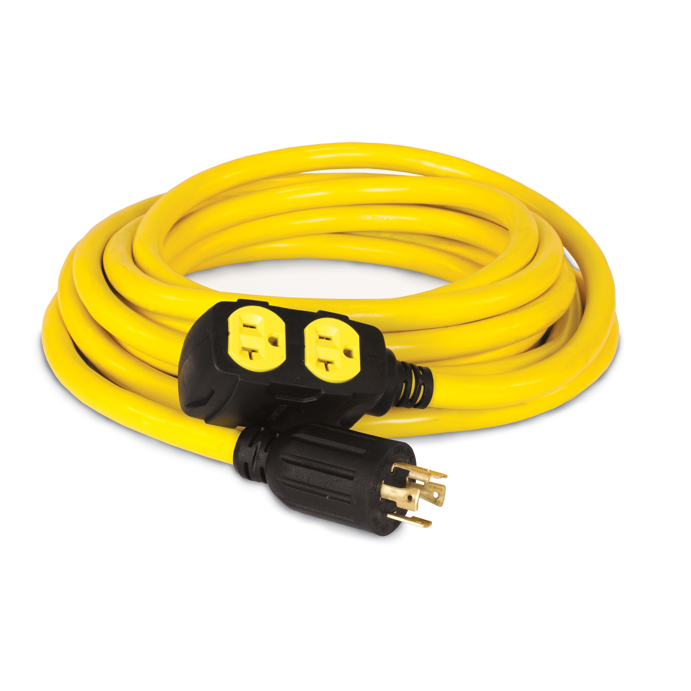 240v Extension Cord >> Champion 48033 25 Foot 30 Amp 125 250 Volt Duplex Style Generator Extension Cord L14 30p To Four 5 20r