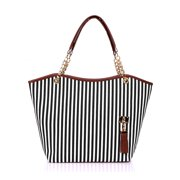Women's Vertical Striped Tassels Decor Detail Tote