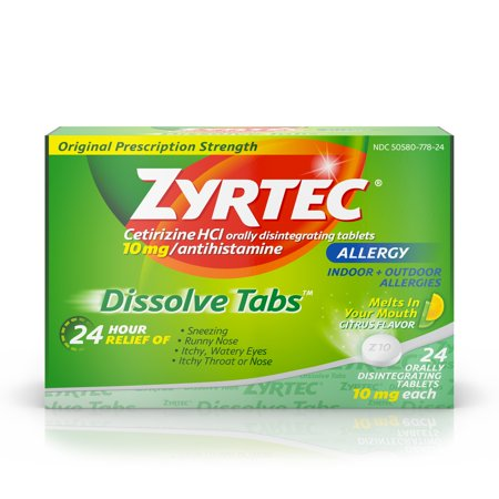 Zyrtec Allergy Dissolve Tablets in Citrus Flavor, Cetirizine HCl, 24