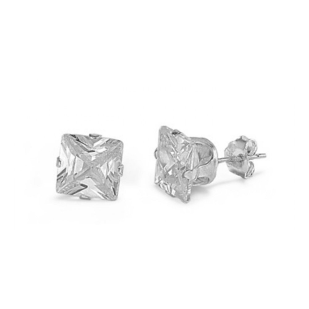925 Sterling Silver 5MM Square Cubic Zirconia Stud Earrings (Clear Cubic Zirconia)