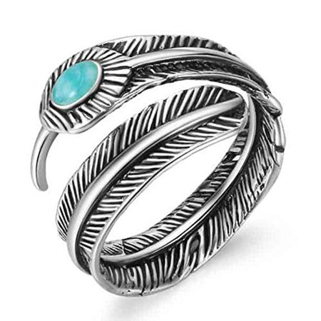 Maya's Grace Stainless Steel Feather Created-Turquoise Adjustable Punk Ring for Women Girls Teens Gift Idea (Basketball Rings For Teen Girls)