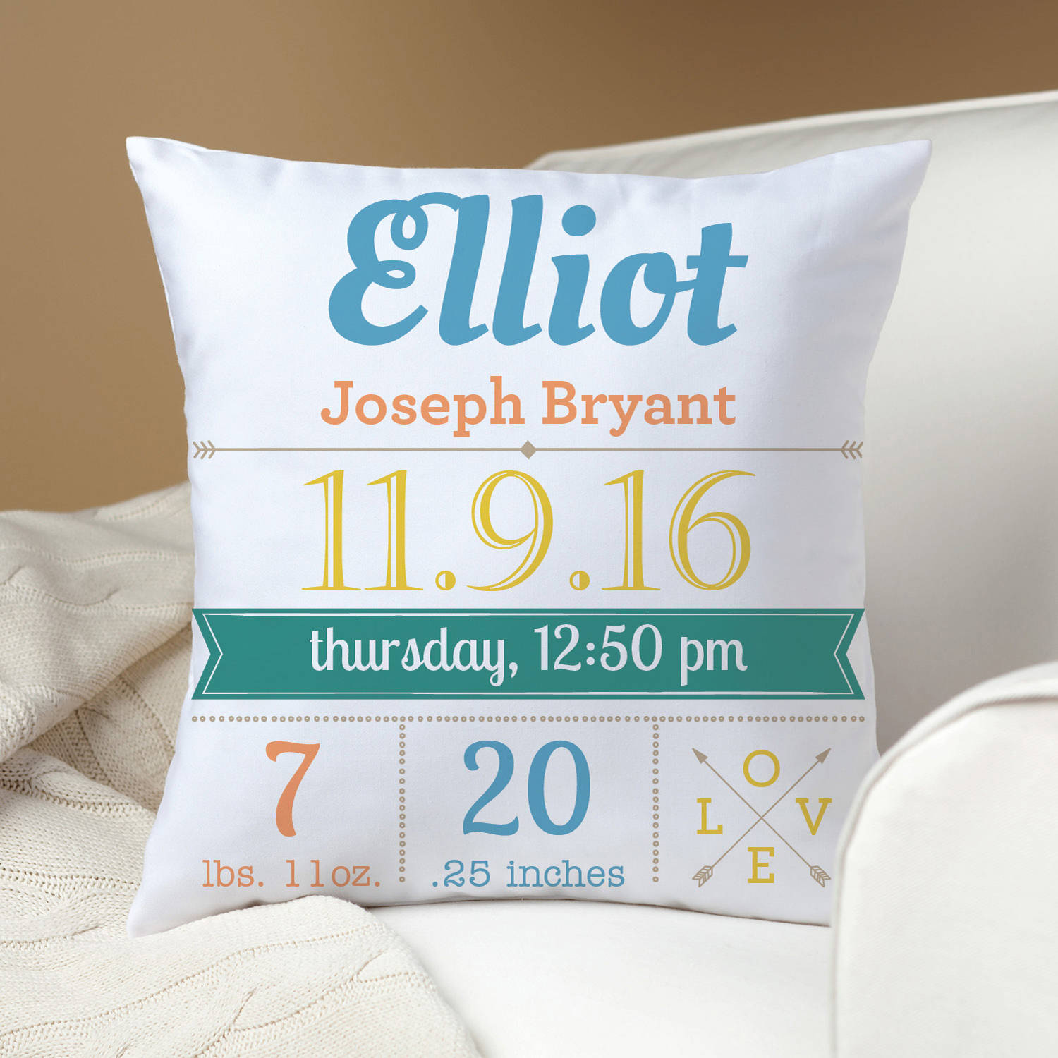 Baby Girl or Boy Personalized Keepsake Throw Pillow