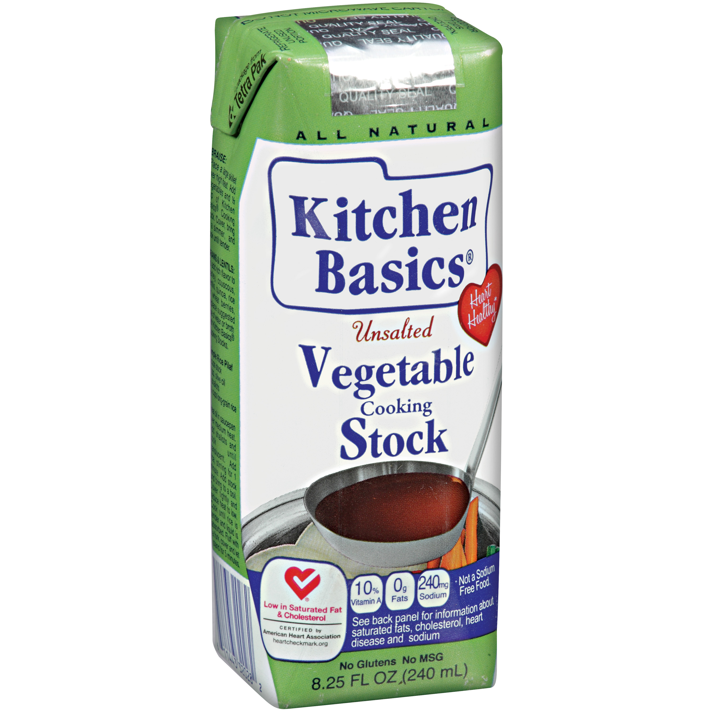 Kitchen Basics�� Unsalted Vegetable Cooking Stock 8.25 oz. Aseptic Carton
