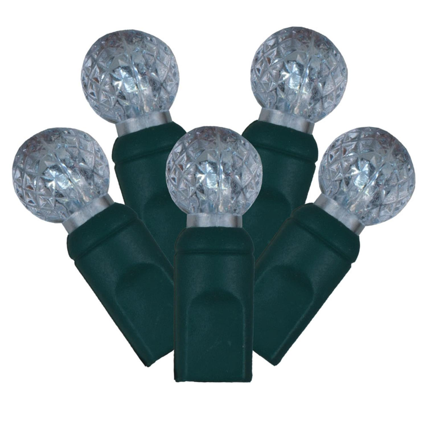 Set of 100 Cool White LED Faceted G12 Berry Christmas Lights - Green Wire
