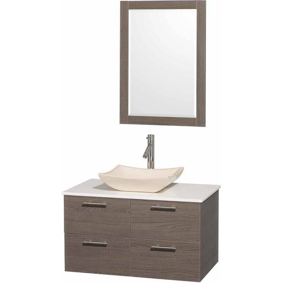 Wyndham Collection Amare 36 inch Single Bathroom Vanity in Gray Oak with White Man-Made Stone Top with Ivory Marble Sink, and 24 inch Mirror