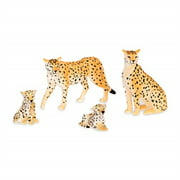 terra by battat - cheetah family - miniature cheetah toy animals for kids 3-years-old & up (4 pc)