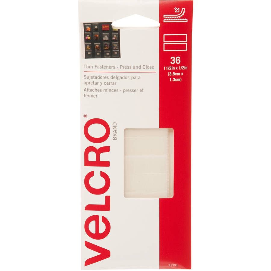 "Velcro Press and Close 1-1/2"" Fasteners, 36 Sets, Clear"