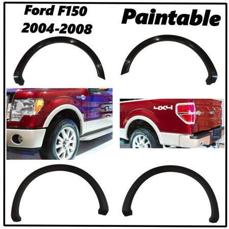 FENDER FLARES OE STYLE SMOOTH 4PCS PAINTABLE NO DRILLING FORD F150 Front & - Front Fender Rail