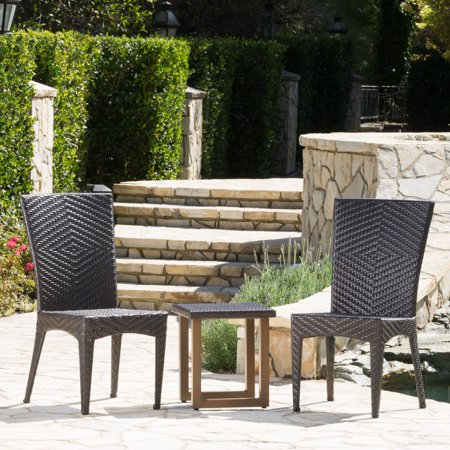 Williams Outdoor 3 Piece Wicker Chat Set With Matching Stacking Chairs Multibrown