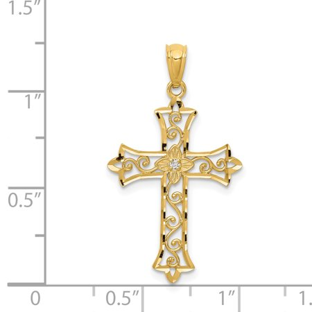 14K Yellow Gold Diamond Cross Pendant - image 1 de 2