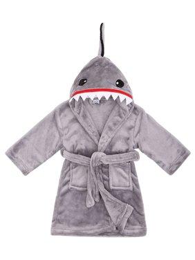 Boys Robe Animal Plush Soft Hooded Terry Bathrobe Robe,Shark Grey,L(7-9 Years)