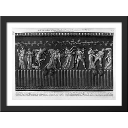 Bas-relief carved in a marble vase in the existing Palace of Villa Borghese, representing a bacchanal 38x28 Large Black Wood Framed Print Art by Giovanni Battista Piranesi