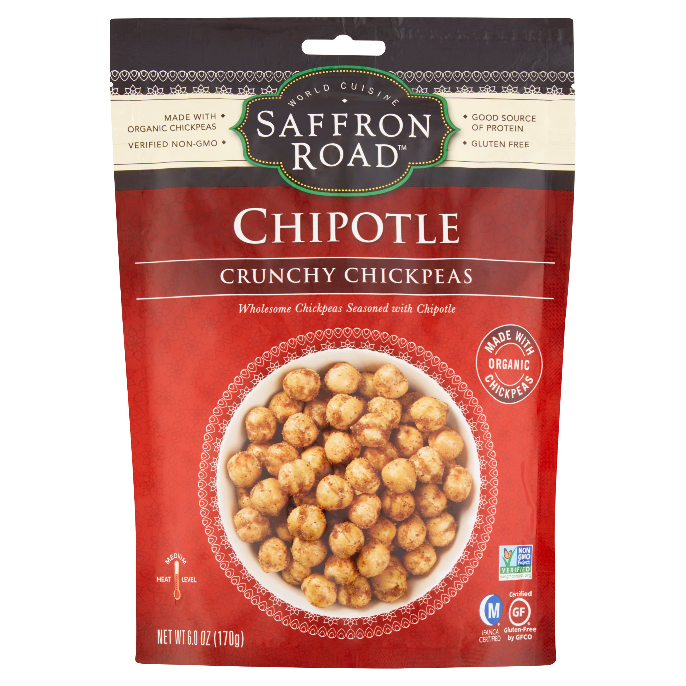 Saffron Road Chipotle Crunchy Chickpeas, 6 oz, 12 pack by American Halal Company, Inc.