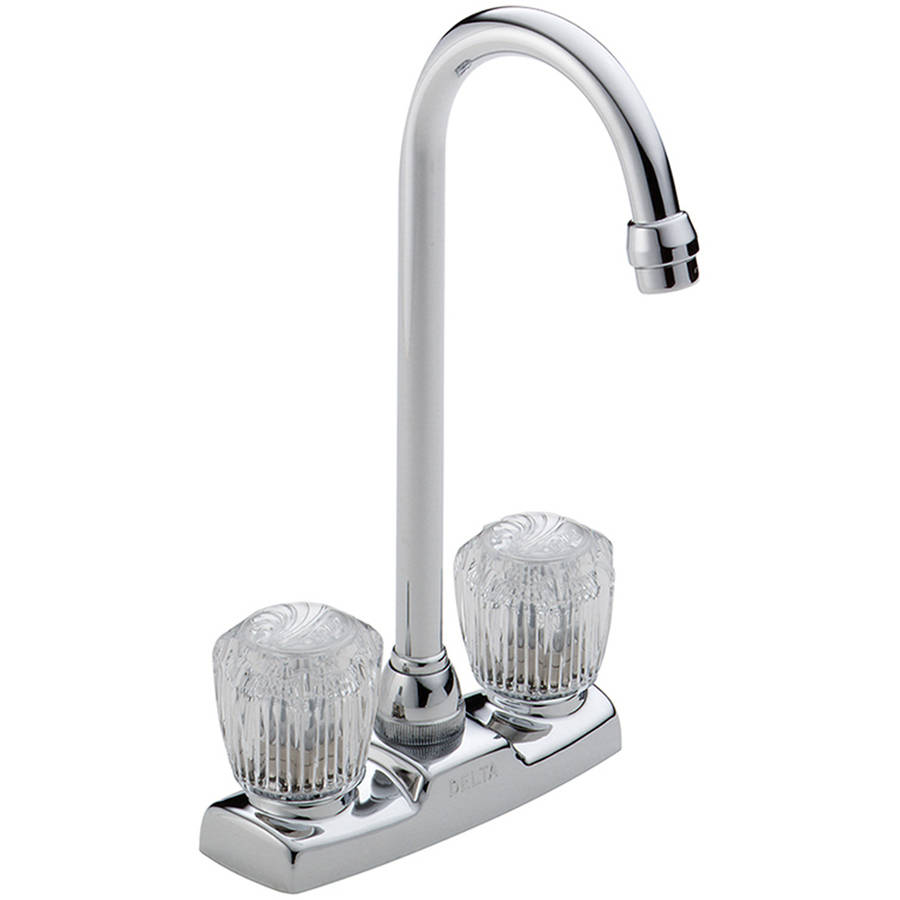 Delta 2170LF Classic Bar Faucet with Two Clear Knob Handles, Chrome