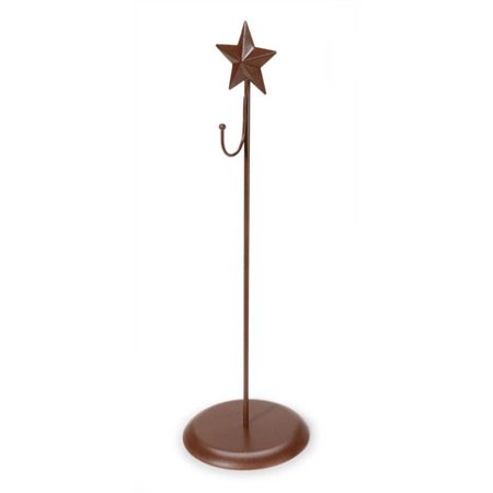 Standing Metal Wreath Hanger with Star - Rust Color - 16 inches