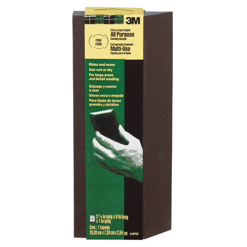 3M Extra-Large Single Angle All Purpose Sanding Sponge, 2.87 in x 8 in x 1 in, Medium grit, Open Stock
