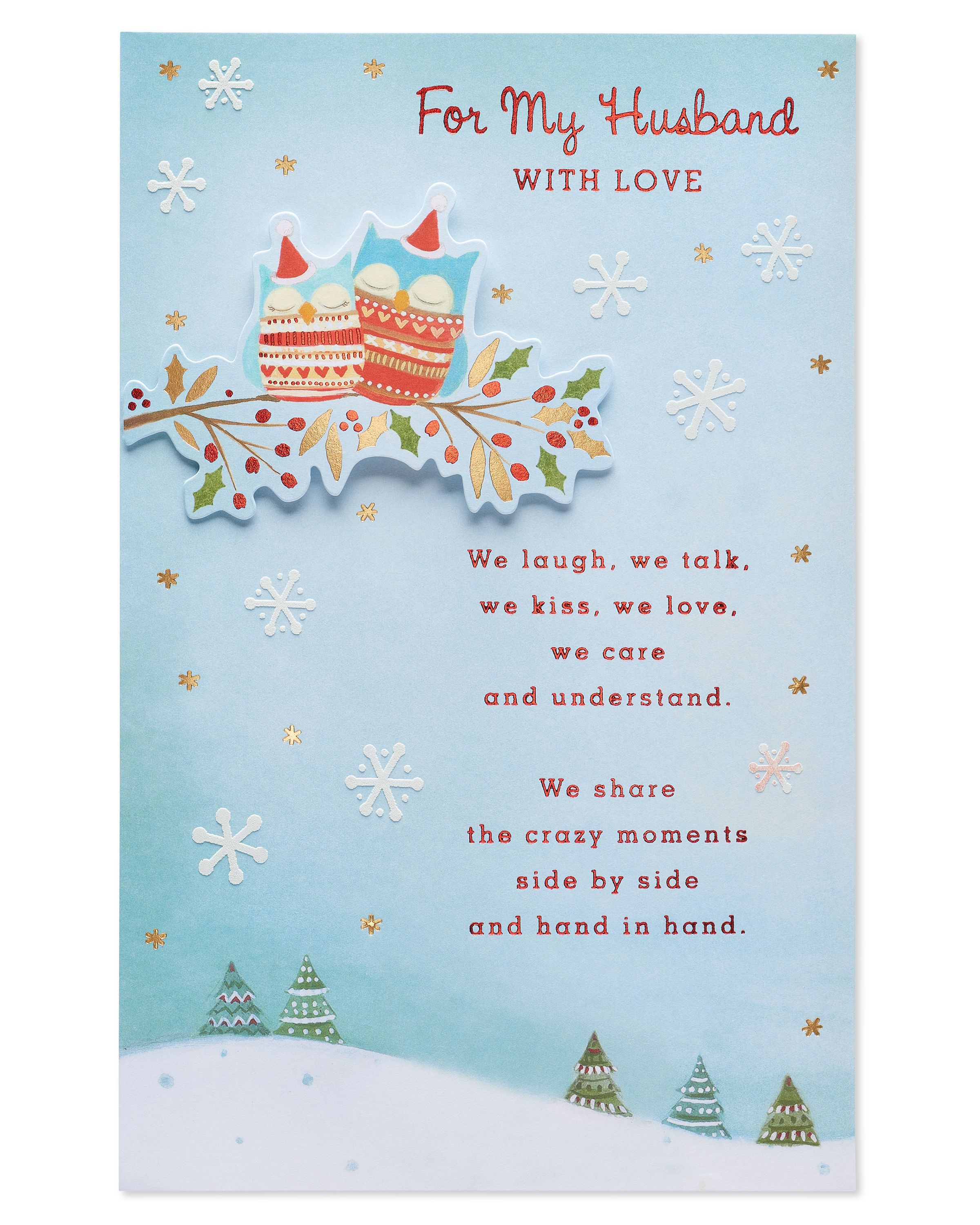 American Greetings Owls Christmas Card for Husband with Foil ...