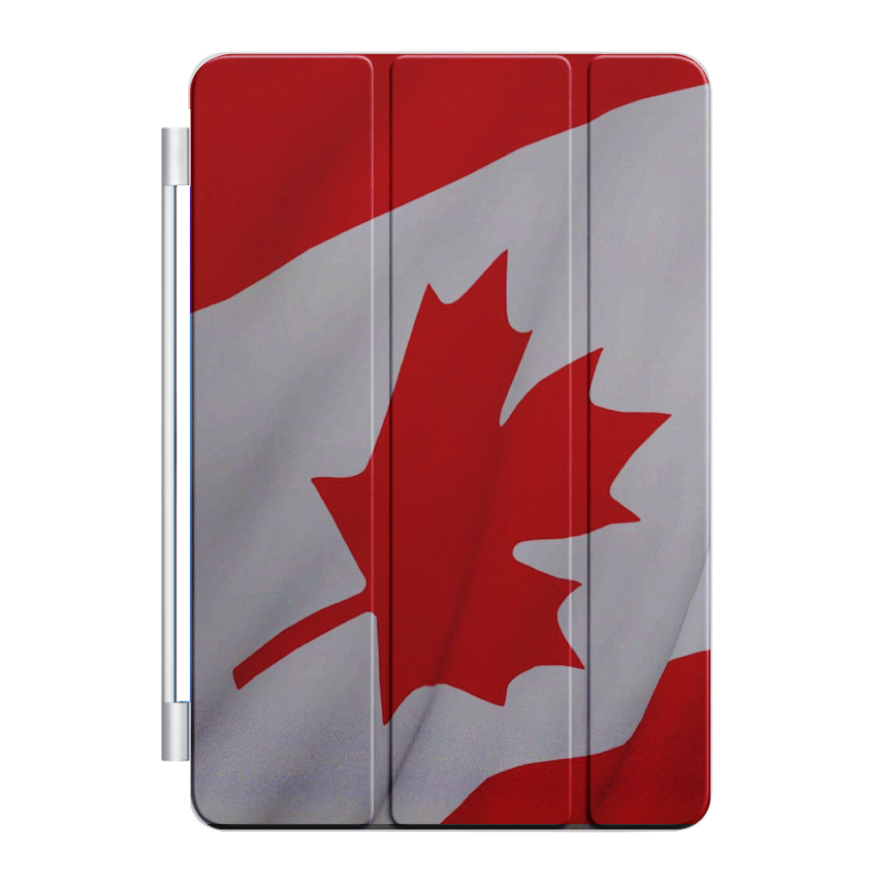 CUSTOM Black Smart Cover (Magnetic Front Cover / Stand) for Apple iPad Air 2 (2014 Model) - Red White Canadian Flag Canada