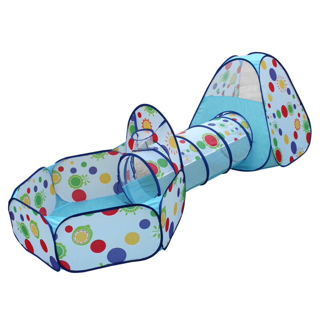 Indoor Outdoor Dots Pattern Foldable  Tunnel Toy Ball Pool Tent Blue