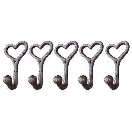 Yosoo Love Style Cast Iron Wall Coat Hooks Hat Hook Hall Tree 4 1/2\ Brown GG007 ()