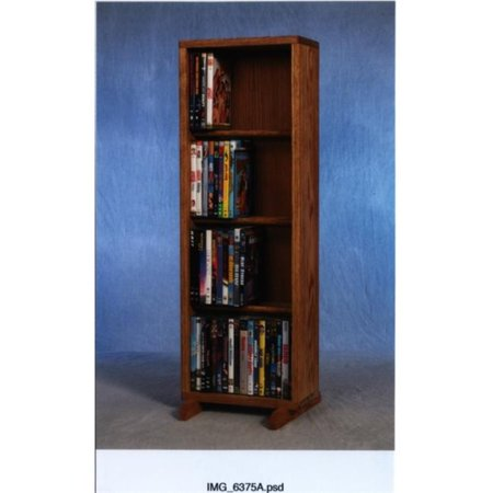 Wood Shed 415-12 Solid Oak 4 Row Dowel DVD Cabinet Tower