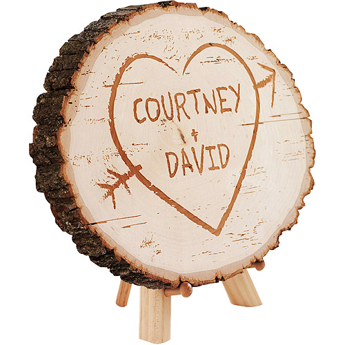 Personalized Carved Heart Basswood Plaque with Easel Stand