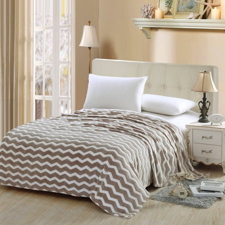 Soft Plush Blanket (Soft Plush Micro Fleece Jacquard Chevron Blanket (Twin, Beige) )