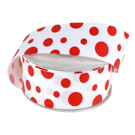 Red Polka Dots (White Grosgrain Polka Dot Ribbon, 1-1/2-Inch, 25 Yards,)