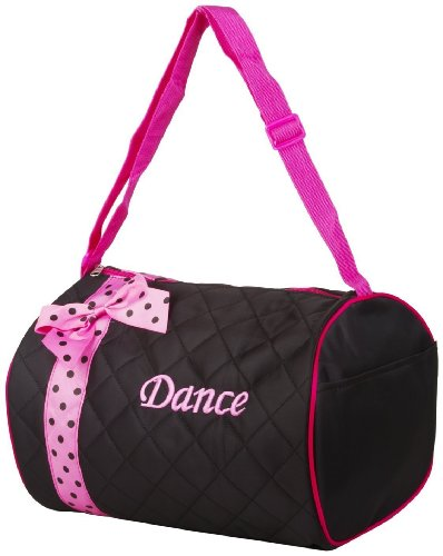 Girl's Quilted Nylon Dance Duffle Bag w  Pink Polka Dot Bow (Black) by Lil Princess