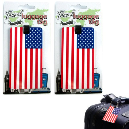 AllTopBargains 2 Pc Set USA Luggage Tags Label ID Suitcase Bag Baggage Travel American Flag New