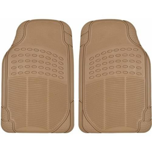 BDK Front Car Rubber Floor Mats, 2-Piece, Black Beige Gray, Heavy Duty