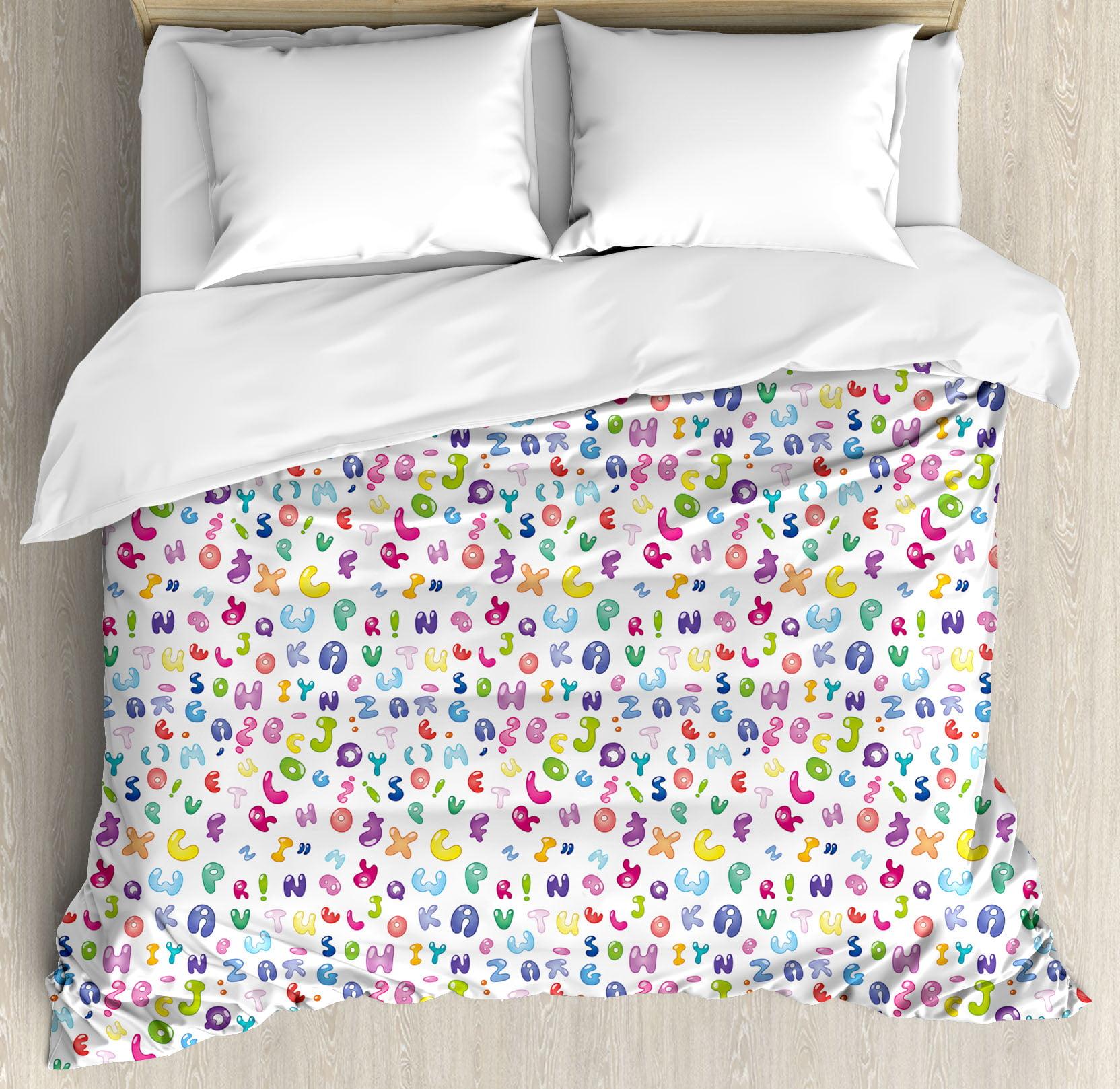 Kids Decor King Size Duvet Cover Set, Cute Colorful Alpha...