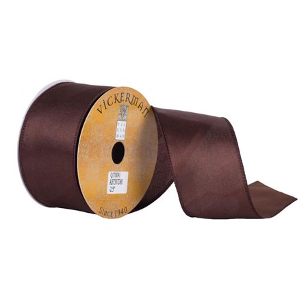 2.5 in. x 10 Yard Chocolate Satin Wired Edged Ribbon - image 1 de 1