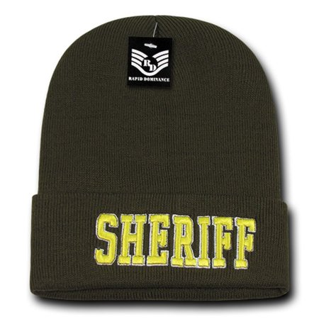 Olive Green Sheriff Cop Embroidered Beanie Long Police Winter Knit Ski Cap Hat](Keystone Cop Hat)
