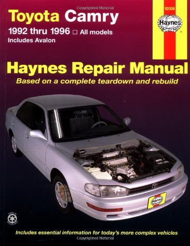 toyota camry automotive repair manual all toyota camry and avalon rh walmart com 1996 toyota avalon repair manual 1998 Avalon