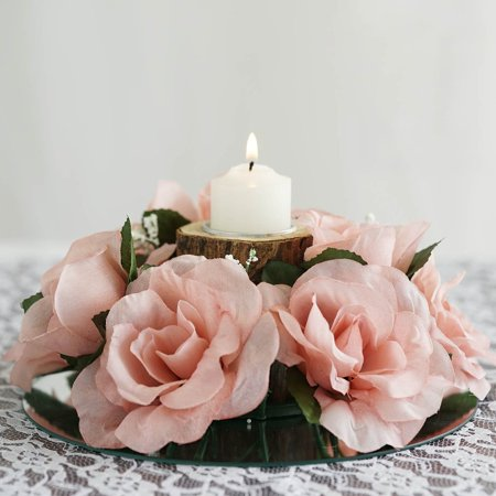 BalsaCircle 8 Silk Roses Flowers Candle Rings - DIY Home Wedding Party Artificial Bouquets Arrangements Centerpieces ()