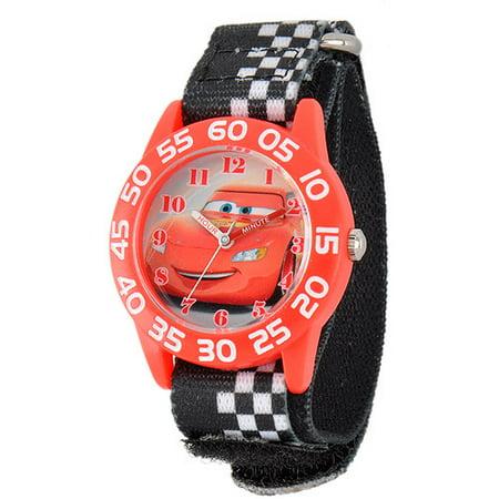 Cars Boys' Plastic Case Watch, Black Stretch Nylon Strap